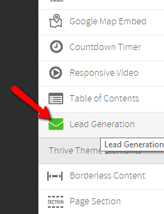 For the 2-step opt-in process, it's important that you add an opt-in form to the box. Do this by adding the Lead Generation element to your lightbox: