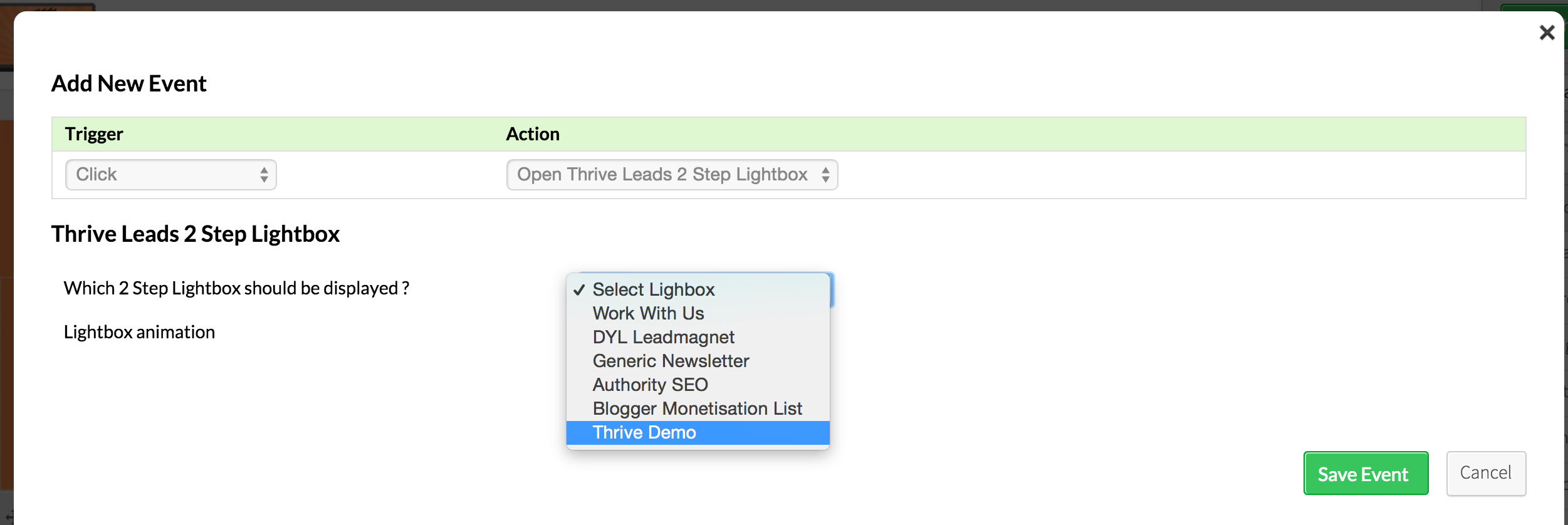 """5 - Add a call to action button to the end of your post or page and click on """"Event Manager"""""""