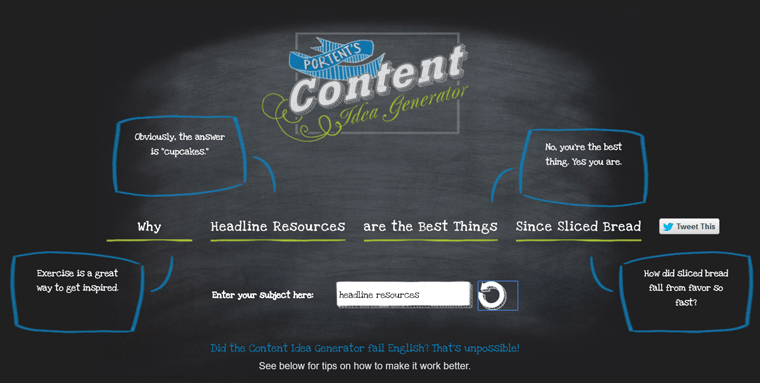 8 tools to cook up magnetizing click worthy headlines for Portent idea generator
