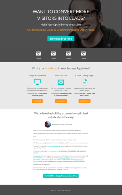 Create Your Own Version. Upside Down Homepage Thrive Template