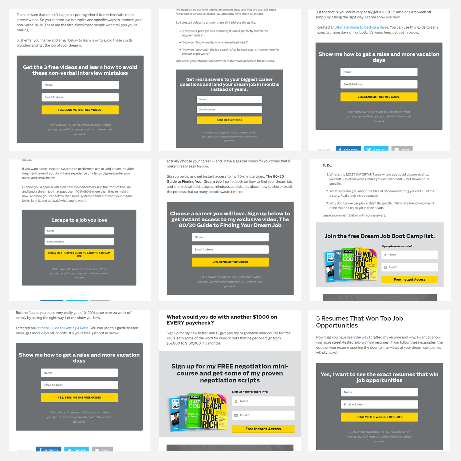Targeted opt-in offers after each blog post