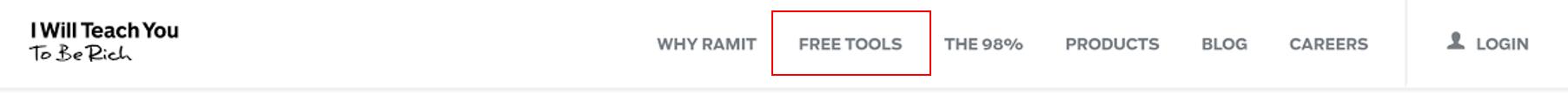 Free tools menu item