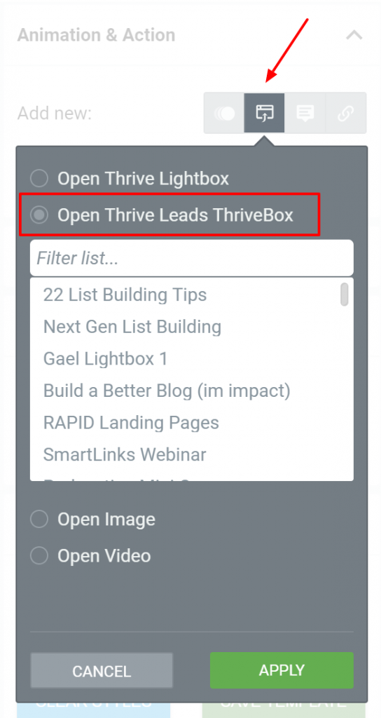 """Now, linking a ThriveBox to any element on your page is done exactly the same way as linking a Thrive Lightbox but by selecting """"Thrive Leads Thrivebox"""" in ..."""