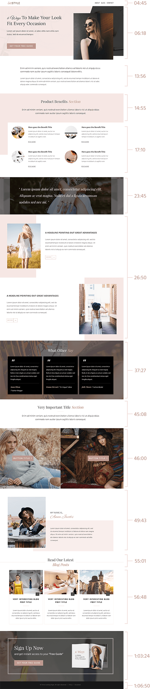 chic magazine page template