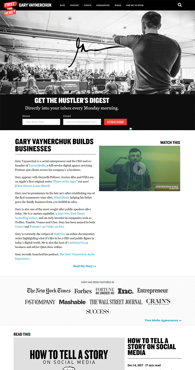 Screenshot of Gary's 2018 homepage