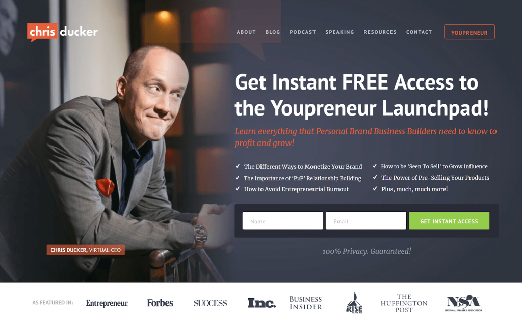 Call-to-action on Chris Ducker's homepage: Get instant access