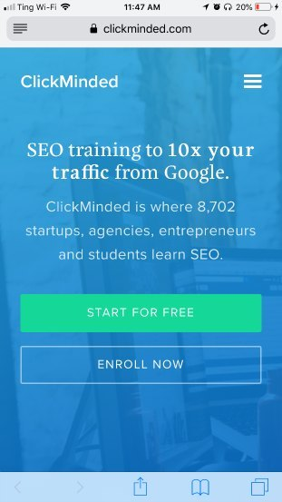 ClickMinded mobile landing page good example