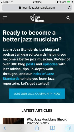 JazzStandards mobile homepage - good example