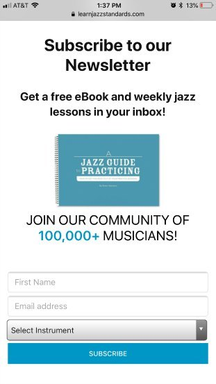 Learn Jazz Standards lead generation page good example