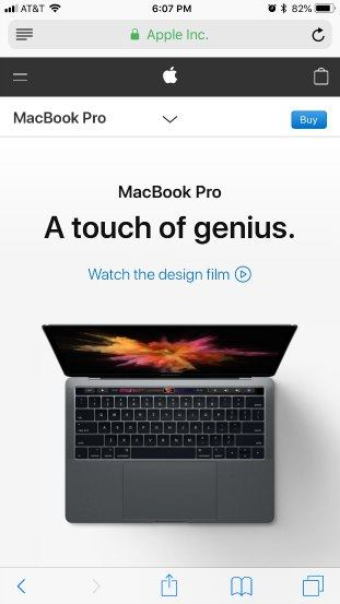 MacbookPro optimized homepage good example