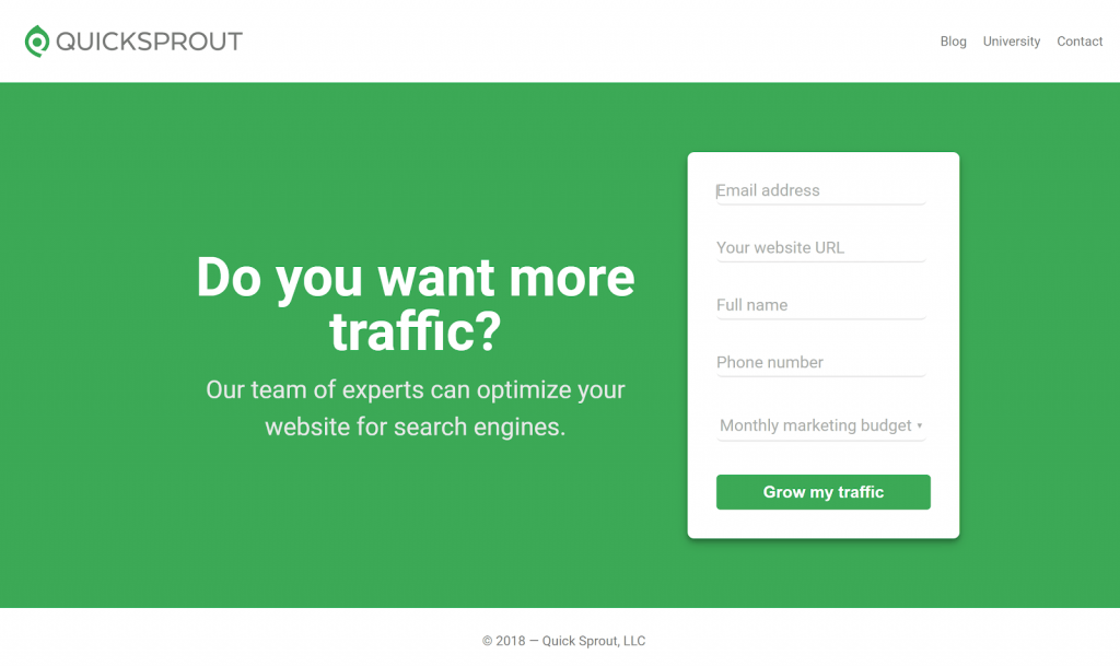 The contact form on QuickSprout's homepage: Grow my traffic