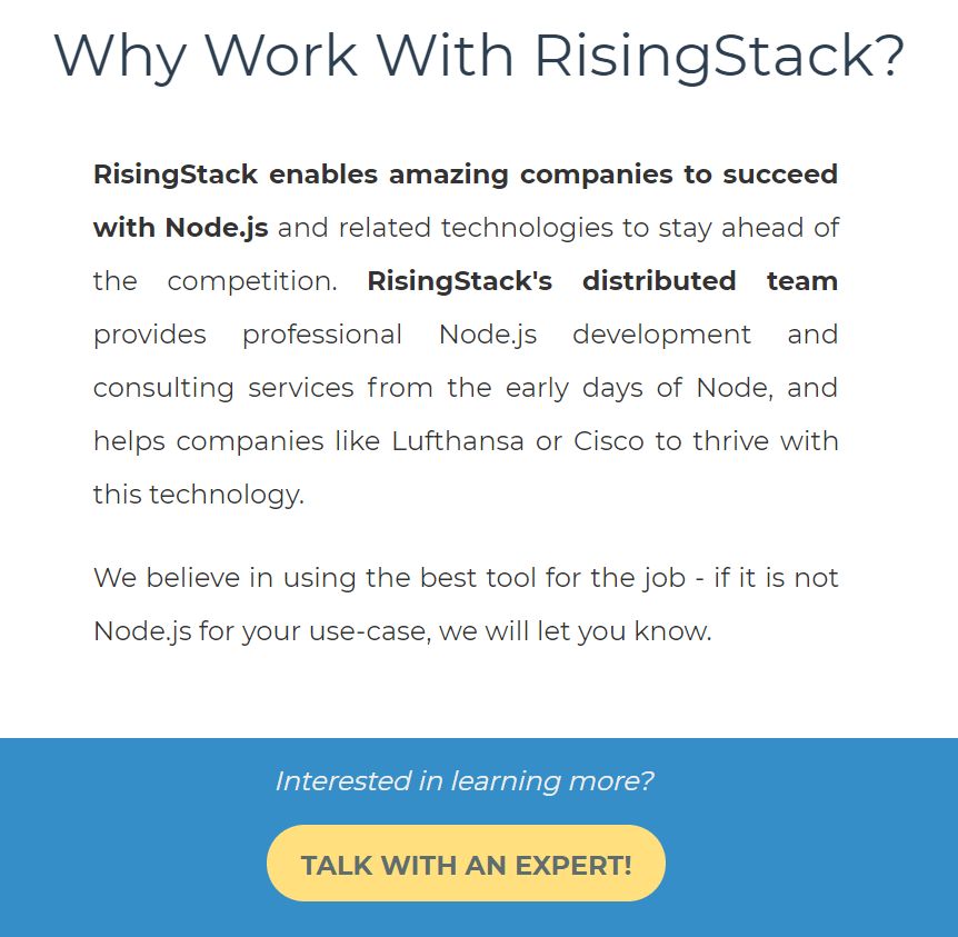 The contact form on RisingStack's website, button text: Talk with an expert!