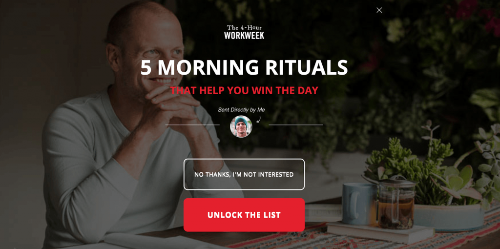 The exit intent popup on Tim Ferriss' website: Unlock the list