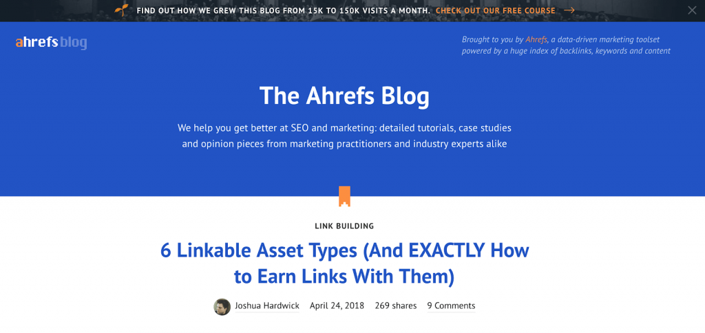Button on the header of the Ahrefs' blog page: Check out our free course