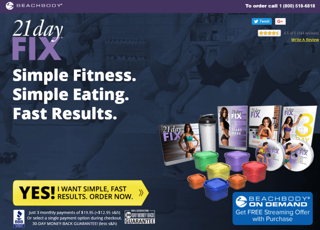 Beachbody's call-to-action on the homepage: Yes! I want simple, fast results. Order now.