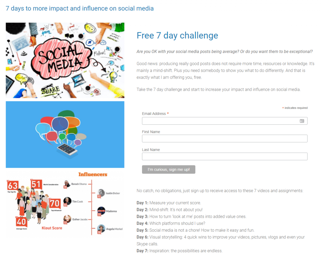 Call-to-action of Esther Jacobs' 7-day social media challenge: I'm curious, sign me up!