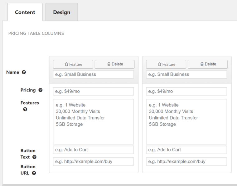 back-end pricing table editing