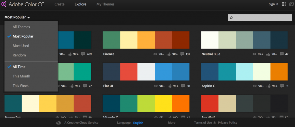 Adobe Color CC Color Palettes