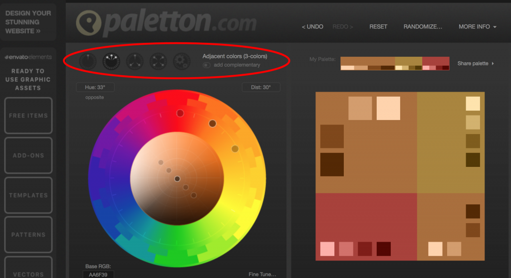 Paletton color schemes