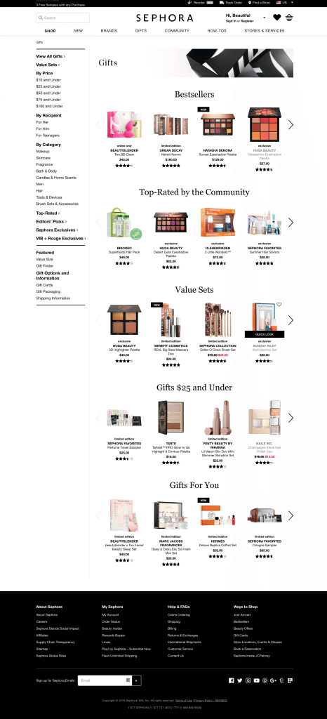 Sephora Website Color Scheme Example