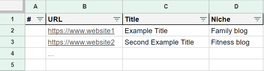 Link building spreadsheet example