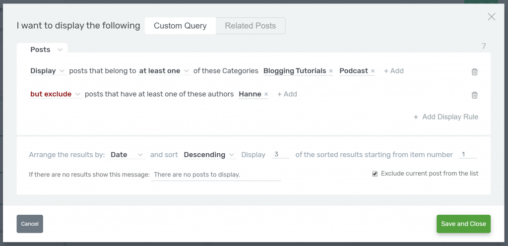 Post Grid filter options