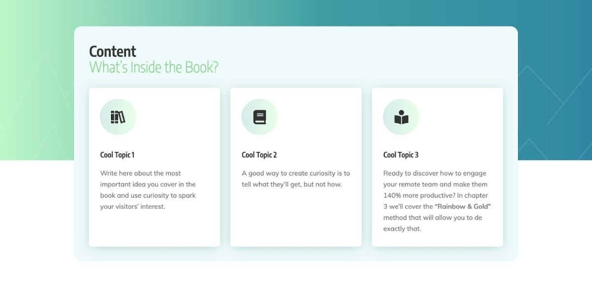 The Content Section of the Smart Ebook Lead Generation Page template.