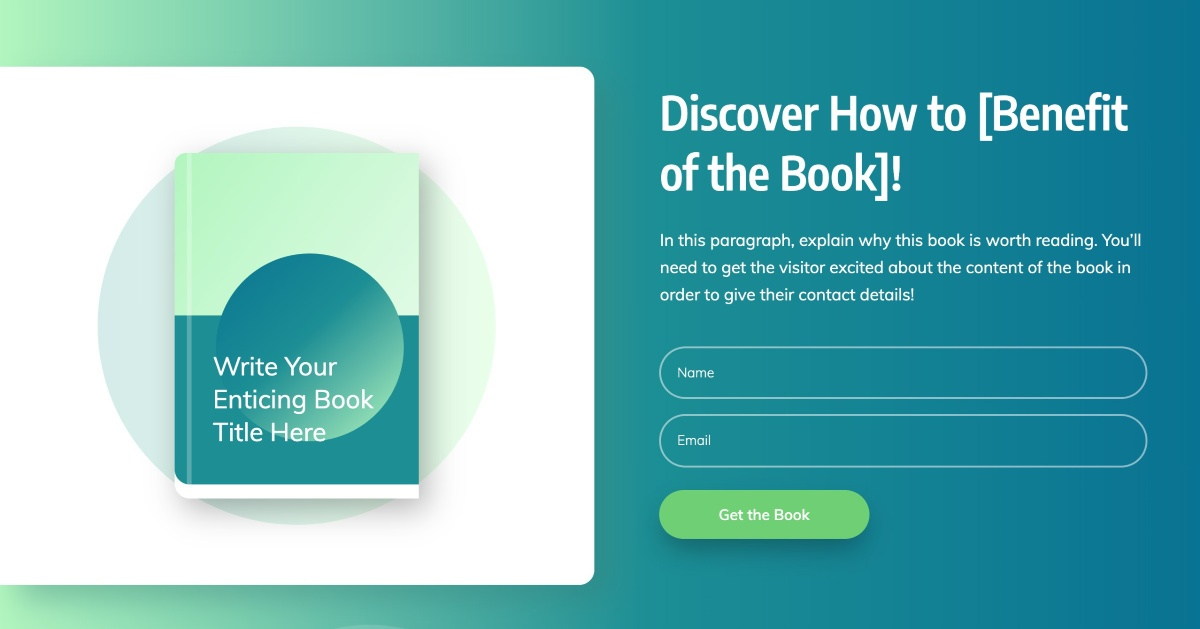 """""""Above the Fold"""" area of the Smart Ebook Lead Generation Page template"""