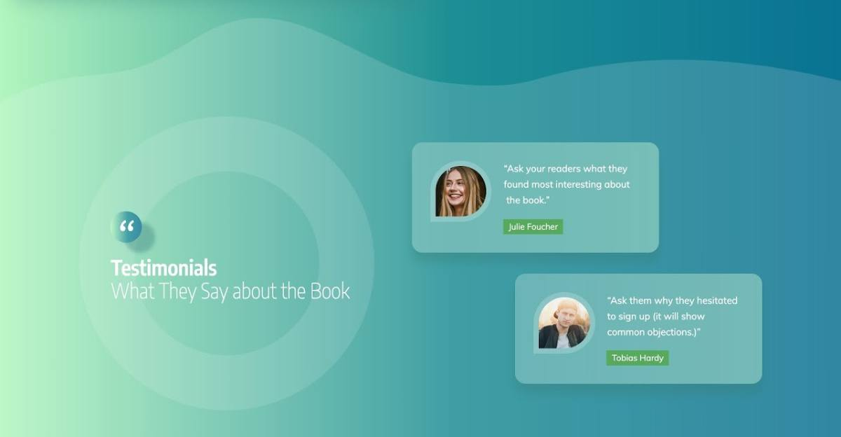 The Testimonial Section of the Smart Ebook Lead Generation Page template